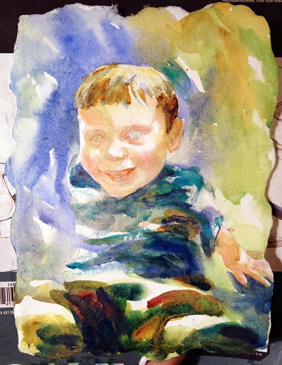 Sketching a portrait for Portrait painting tutorial